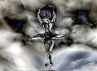 Dancer Mixed Media - Silhouette Storm Dancer by Abstract Angel Artist Stephen K