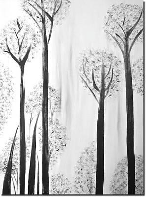 Silhouette Tree Art  Original by Poonam Choudhary