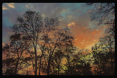 Digital Art - Silhouette Trees Against Red Sun Set Sky. by Rusty R Smith