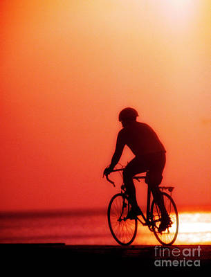 Photograph - Silhouetted Bike Rider Sunrise Chicago Lake Front  by Tom Jelen