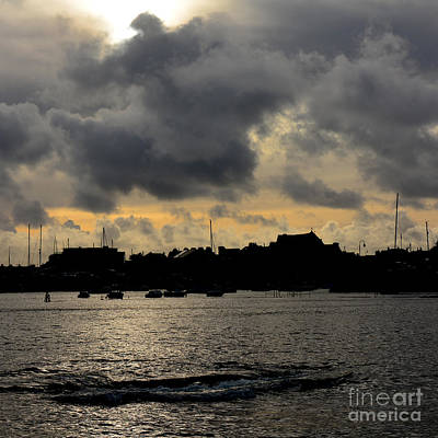 Photograph - Silhouetted Harbour At Port St Mary by Paul Davenport