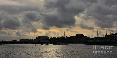 Photograph - Silhouetted Harbour At Port St Mary. V2 by Paul Davenport