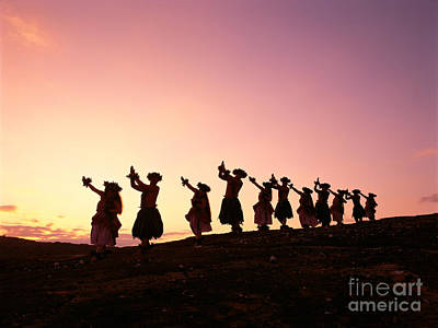 Photograph - Silhouetted Hula Dancers by Carl Shaneff - Printscapes