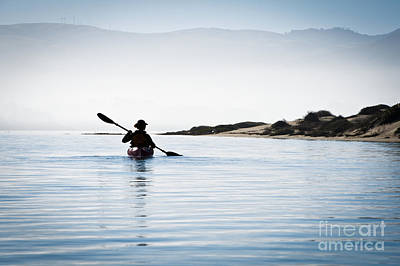 Silhouetted Kayaker In Morro Bay Art Print