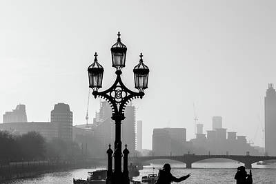 Photograph - Silhouetted Lamppost On Westminster Bridge London by Jacek Wojnarowski