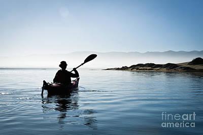 Bill Brennan Photograph - Silhouetted Morro Bay Kayaker by Bill Brennan - Printscapes