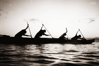 Silhouetted Paddlers Art Print by Bob Abraham - Printscapes