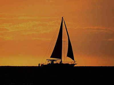 Photograph - Silhouetted Sailboat by Pamela Walton