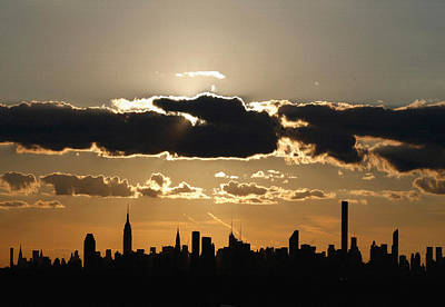Silhouettes Of The New York City Skyline Is Seen At Sunset  Original by Don Kuing