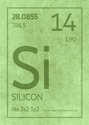 Periodic Table Wall Art - Mixed Media - Silicon Element Symbol Periodic Table Series 014 by Design Turnpike