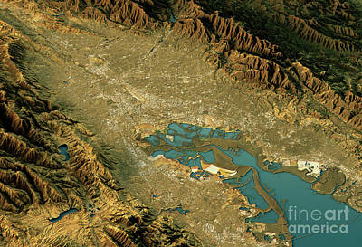 Geography Digital Art - Silicon Valley 3d Landscape View North-south Natural Color by Frank Ramspott