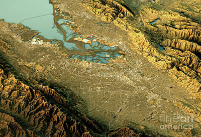 Silicon Valley 3d Landscape View South-north Natural Color Art Print by Frank Ramspott