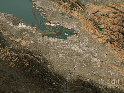 Silicon Valley Topographic Map 3d Landscape View Natural Color Art Print