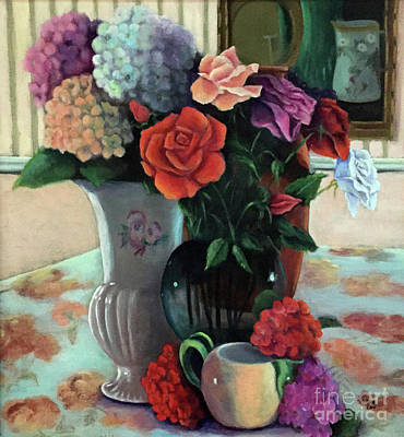 Painting - Silk Flowers by Marlene Book
