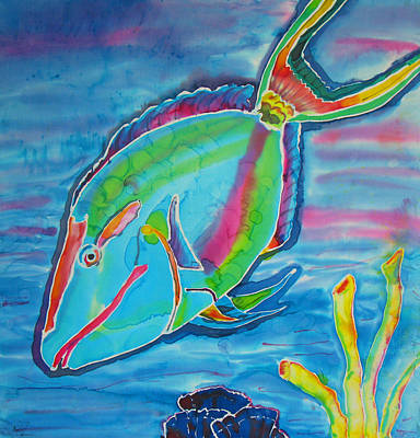 Parrotfish Painting - Silk Parrotfish by Kelly     ZumBerge