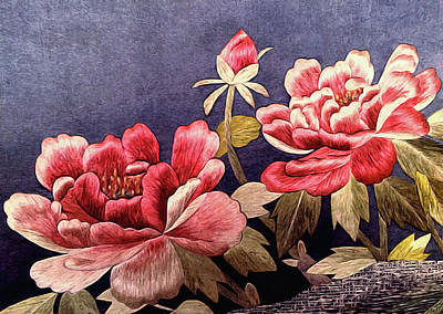Still Life Tapestries Textiles Photograph - Silk Peonies - Kimono Series by Susan Maxwell Schmidt