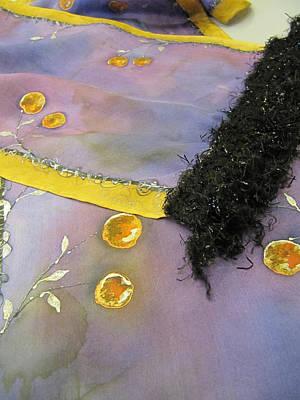 Stiched Tapestry - Textile - Silk Scarf Orange Berries by Brenda Berdnik