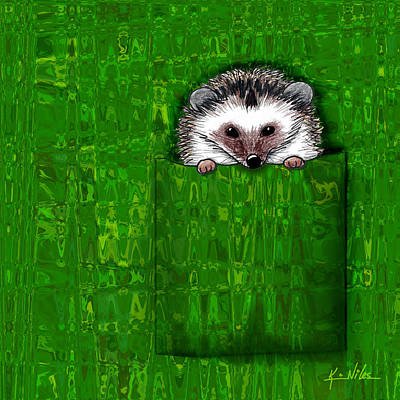 Kiniart Digital Art - Silk Shirt Pocket Hedgie by Kim Niles