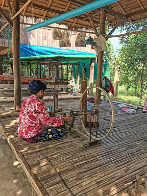 Photograph - Silk Weaving In Cambodia by Donna Kennedy