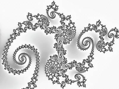 Digital Art - Silken Dragon Abstract Black And White by Georgiana Romanovna