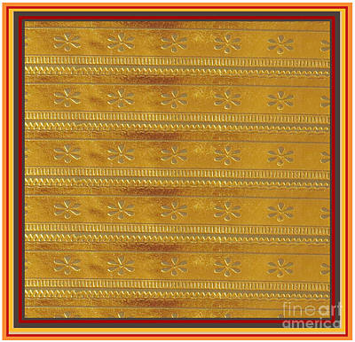 Digital Art - Silken Gold Border Stripes With Jewel Imprint Elegant Border Energy Healing Art By Navinjoshi Finear by Navin Joshi