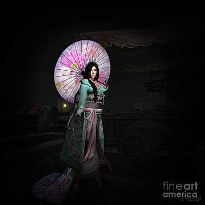 Digital Art -  Silks And Parasols 2 by Georgina Hannay