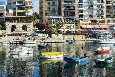 Photograph - Silky Mediterranean Colors - Saint Julians Waterfront In Malta by Georgia Mizuleva