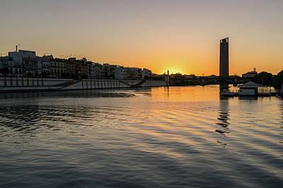 Photograph - Silky Riverside Sunset In Seville Spain by Georgia Mizuleva