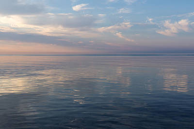 Photograph - Silky Satin On The Lake - Glossy Ripples And Ruffles In Pink, White And Blue by Georgia Mizuleva