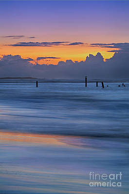 Art Print featuring the photograph Silky Sunrise Reflections Outer Banks by Dan Carmichael