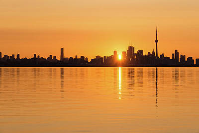 Photograph - Silky Sunrise Silhouette - Torontos Skyline Over Lake Ontario by Georgia Mizuleva