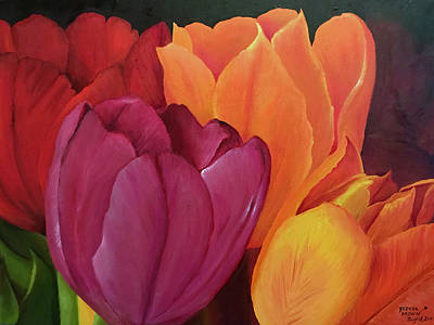 Painting - Silky Tulips Unite  by Brenda Brown