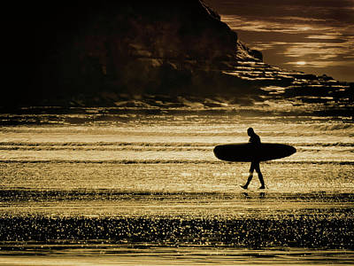 Digital Art - Sillhouette Of Surfer Walking On Rossnowlagh Beach, Ireland  by John Carver