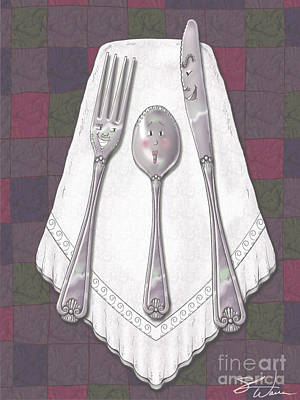 Mixed Media - Silly Silverware by Shari Warren