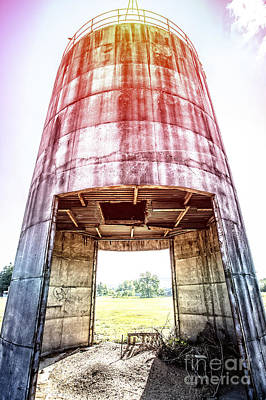 Silo Sunflare Print by Edward Fielding
