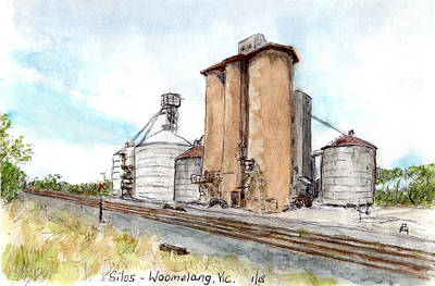 Drawing - Silos by Anne Huth