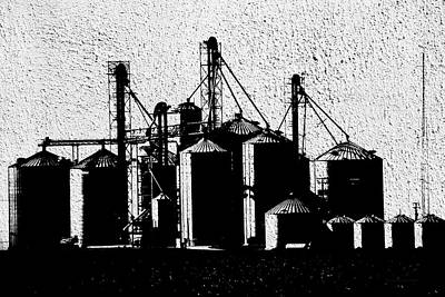 Silos Central Il Textured Bw Art Print by Thomas Woolworth