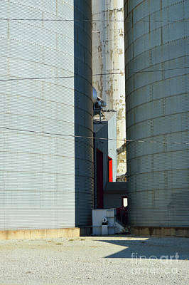 Photograph - Silos With Red Door by Alys Caviness-Gober