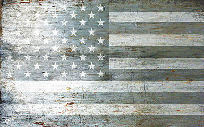 Mixed Media - Silver American Flags by Tony Rubino