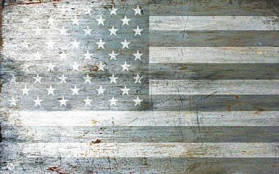 Mixed Media - Silver American Flags by Tony Rubino