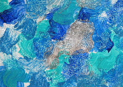 Paper Beads Painting - Silver And Blue by Kimby Faires