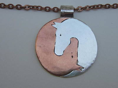 Jewelry - Silver And Copper Double Horsehead Pendant by Anne Marie Brown