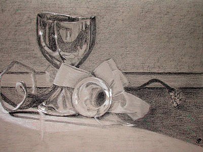 Silver And Glass Still Life Art Print by Rebecca Tacosa Gray