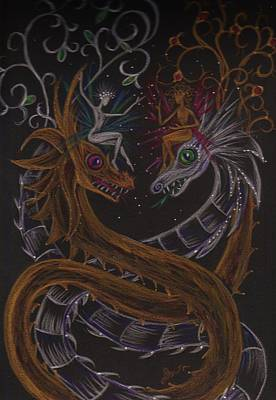 Art Print featuring the drawing Silver And Gold by Dawn Fairies