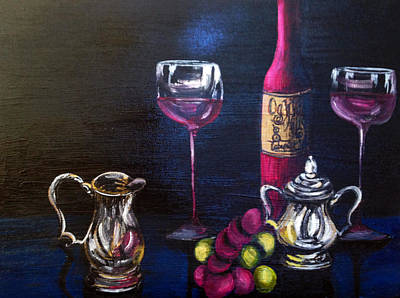 Wine Reflection Art Painting - Silver And Gold by Deb Wolf