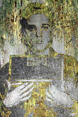 Mixed Media - Silver And Gold Elvis Presley Mug Shot by Tony Rubino