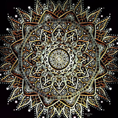 Digital Art - Silver And Gold Mandala by Artful Oasis
