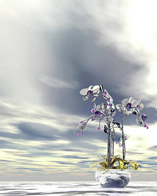 Digital Art - Silver And Gold Orchids by Nicholas Burningham