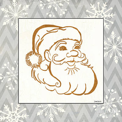 Silver And Gold Santa Print by Debbie DeWitt