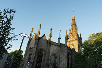 Photograph - Silver And Gold - Sunrise Lit Kirk Of St Nicholas Uniting In Aberdeen Scotland by Georgia Mizuleva